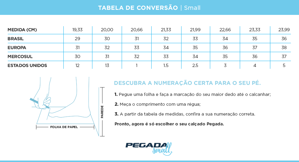 Tabela de Medidas  - Small